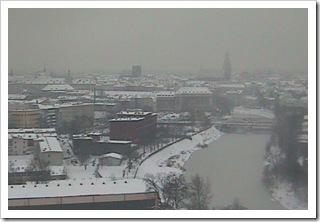 Wrocław pod śniegiem - obraz z 11 stycznia z kamery internetowej na budynku Kogeneracji