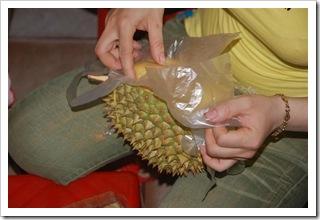 Wyciąganie durianu ze skorupki